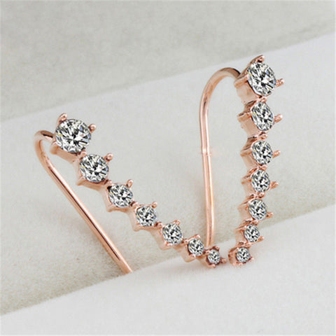 Silvery Golden Rhinestone Crystal Piercing Earrings