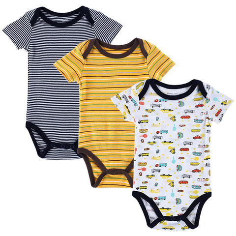 Image of Baby Rompers - Set of 3 Pieces