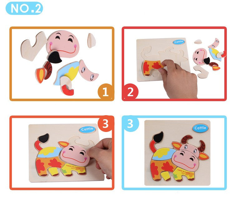 Wooden 3D Jigsaw Puzzle For Children Educational Toy