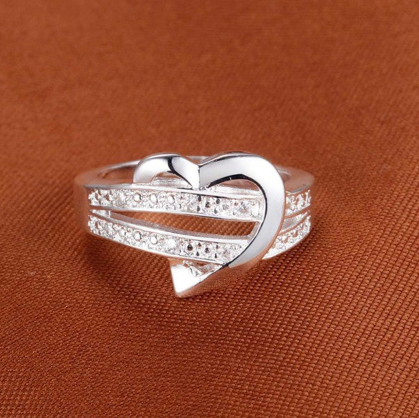 Zircon Heart Wedding Ring