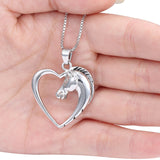 Horse in Heart Silver White Gold Plated Pendant Necklace