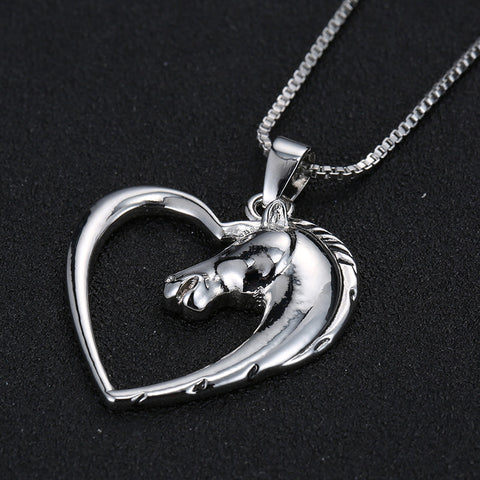 Image of Horse in Heart Silver White Gold Plated Pendant Necklace