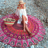 Mandala Red Round Beach Blanket
