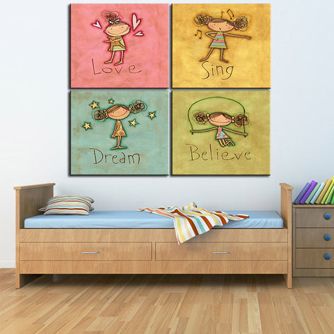 Image of Love Sing Dream Believe Canvas Set