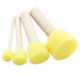 Wooden Yellow Sponge Paint Brush Set - 4 pcs