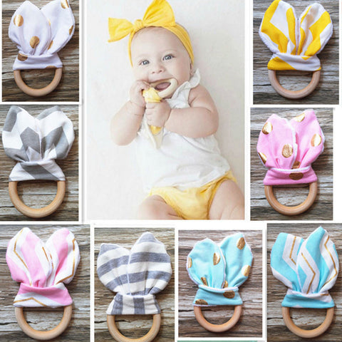 Wooden baby teether ring