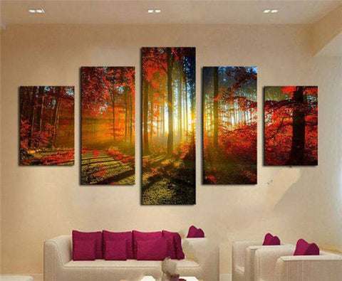 Image of Autumn Red Woods Canvas Print Painting