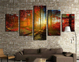 Autumn Red Woods Canvas Print Painting