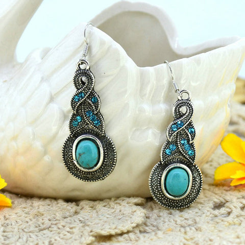 Jewelry Sets Tibetan Turquoise Chain Necklace And Silver Water Drop Shaped Stud Earrings