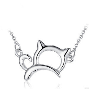 Cute & Lucky 925 Sterling Silver Cat Necklace