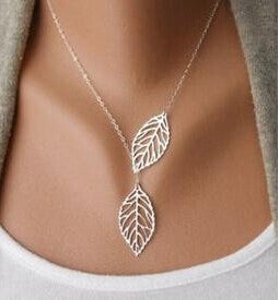 Image of Two Leaf Pendants Necklace Chain - Gold And Sliver