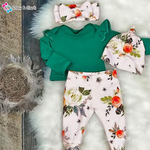 4Pcs Rose Print Baby Girl's Set