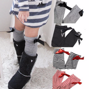 Stripes AND Bows! Girls High Socks