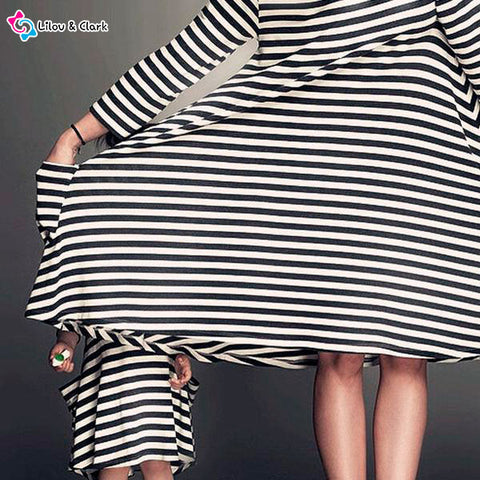 Stripy Casual Dress For Mommy and Me