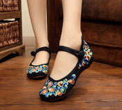 Flower Embroidered Soft Canvas Shoes