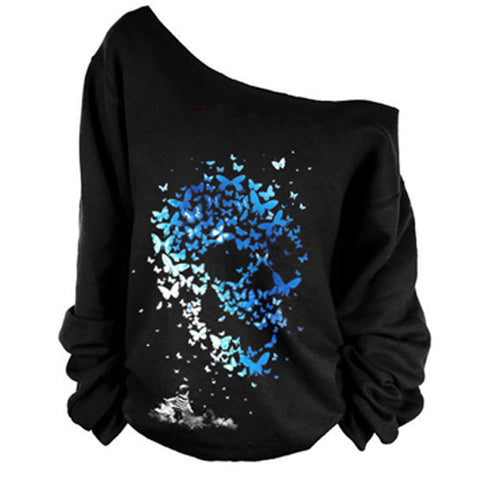 Butterfly Skull Off the Shoulder Long Sleeve