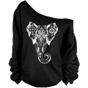 Boho Elephant Off the Shoulder Top