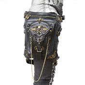 Steampunk Leather Skull Waist Bag