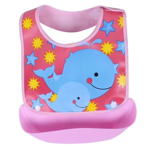 No Mess Waterproof Baby Bib with Food Catching Tray