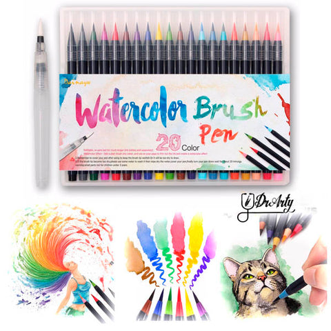 Image of Watercolor Brush Pens - Set of 20