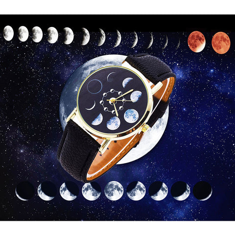 Zodiac Moon Phases Leather Watch