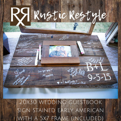Guest book frame, Photo Guestbook sign, Wedding initials sign, rustic wedding decor, Custom wedding gift, wood sign wedding, pallet wall art