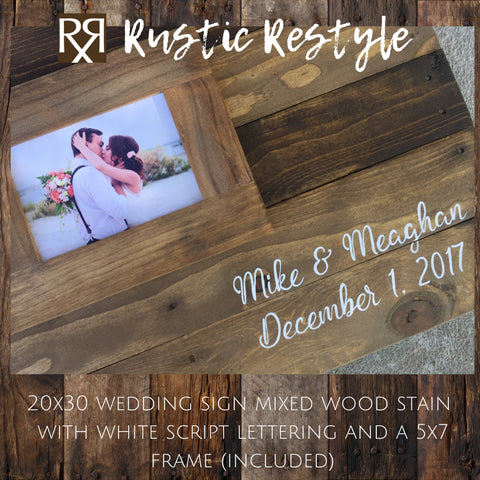 Alternative Guest book Wood pallet wedding sign, wood wedding decor, up-cycled pallet handmade Guest book, Framed Photo guest book, 20x30 - Rustic Restyle