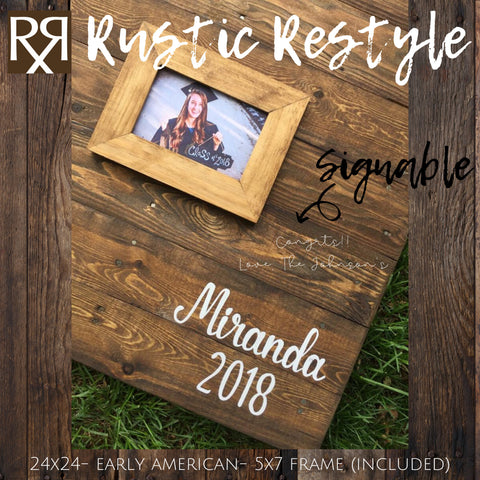 24X24 personalized graduation guest book party decor, class of 2019, high school commencement sign in book, college graduate memento - Rustic Restyle