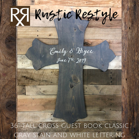 Large Wedding cross guest book, signable wooden alternative keepsake for Reception - Rustic Restyle