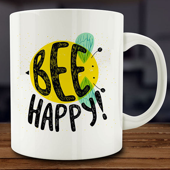 Bee Happy mug, 11 oz white ceramic coffee tea be happy