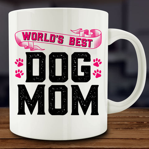 World's Best Dog Mom Mug, 11 oz white ceramic coffee tea
