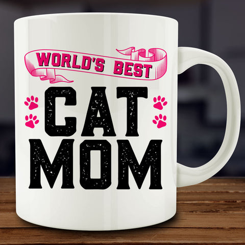 World's Best Cat Mom Mug, 11 oz ceramic coffee tea cat lover gift