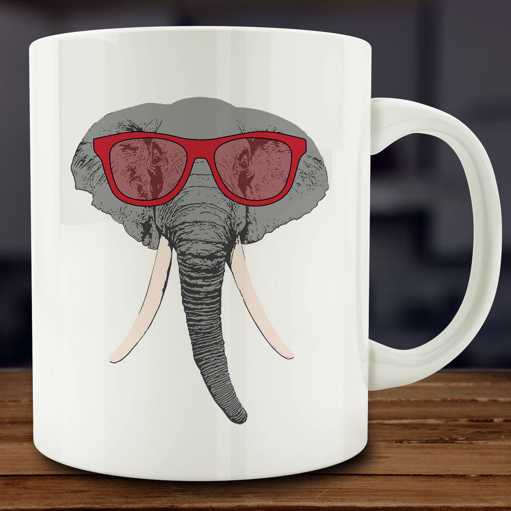 Elephant in Crimson Sunglasses Mug, 11 oz coffee tea