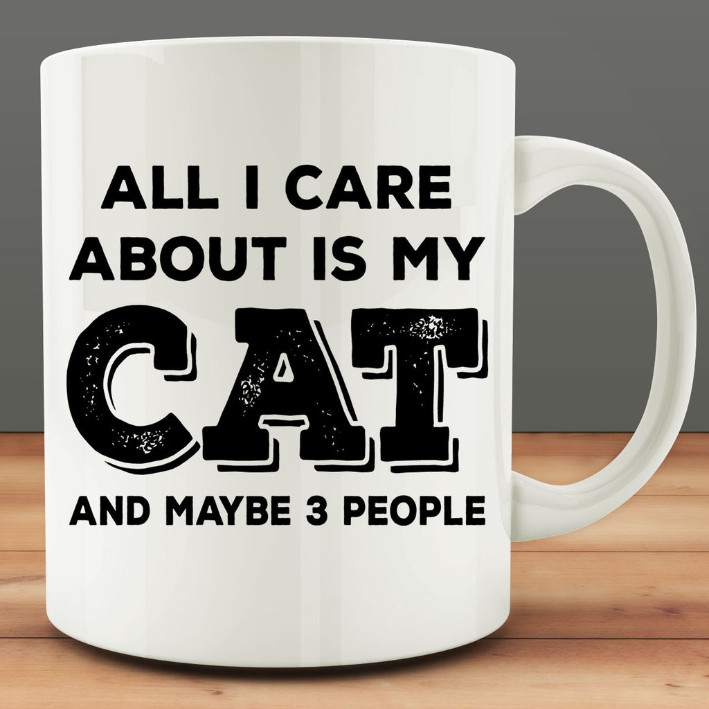 All I Care About Is My Cat And Maybe 3 People Mug, funny 11 oz coffee