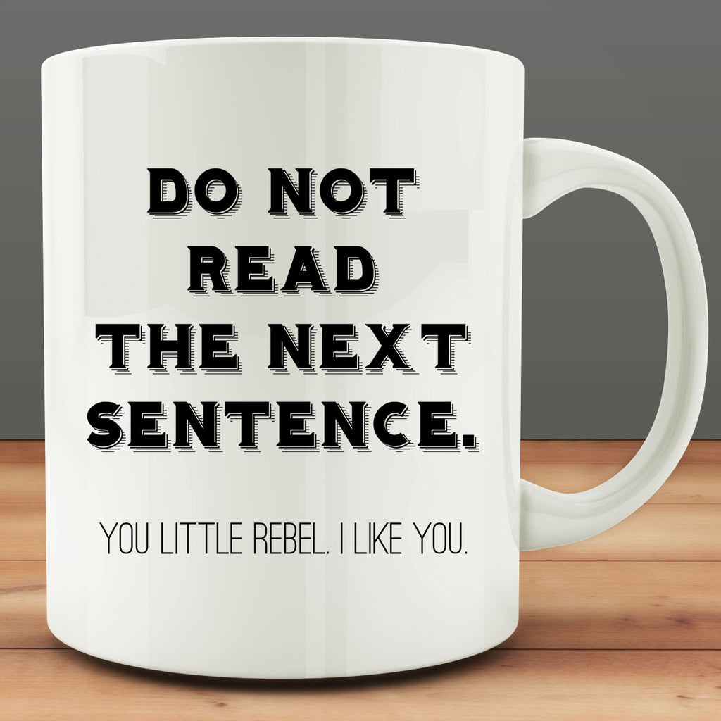Do Not Read the Next Sentence You Little Rebel I Like You Mug, funny 11 oz coffee