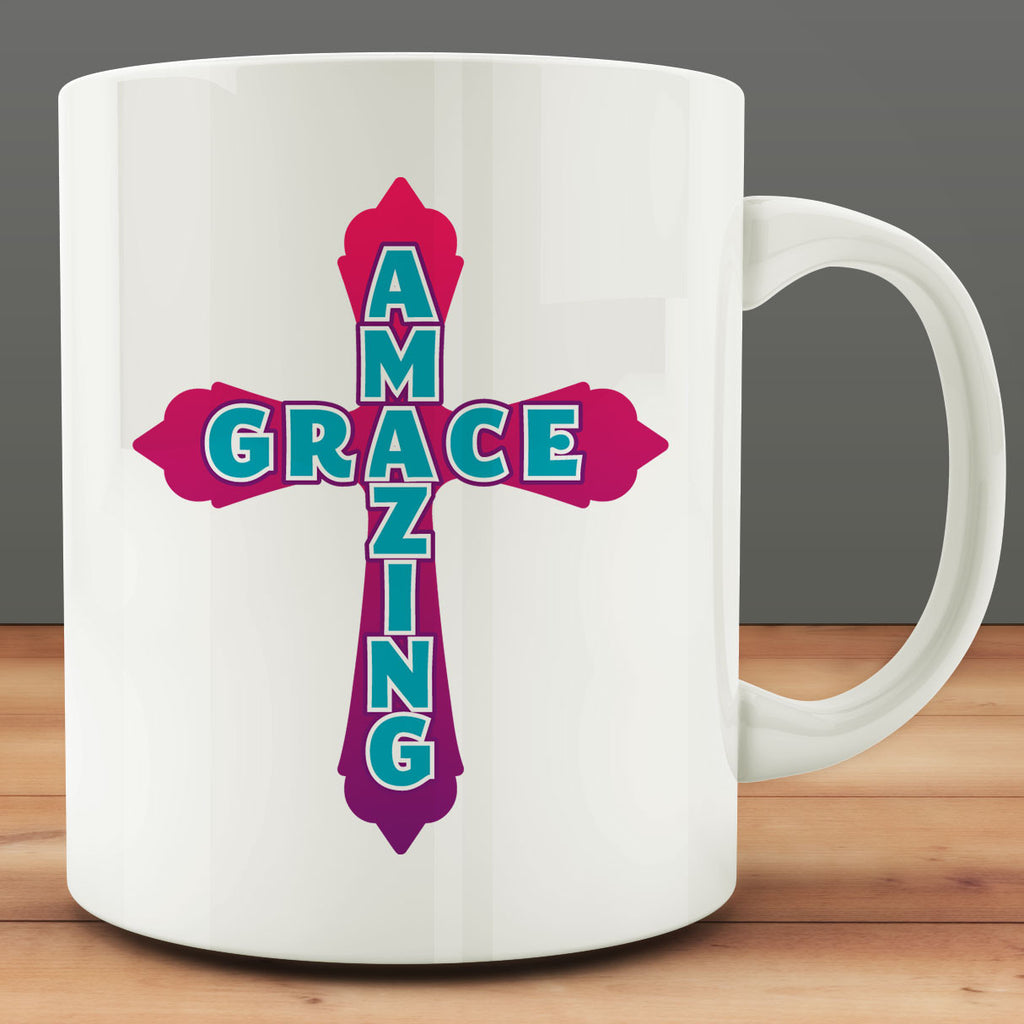 Amazing Grace Cross Mug, religious Christian 11 oz coffee tea mug