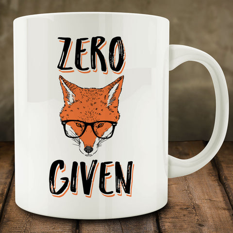 Zero Fox Given Mug, 11 oz white ceramic coffee tea