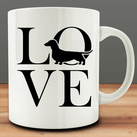 Love Dachshund Mug, dotson wiener dog 11 oz coffee tea