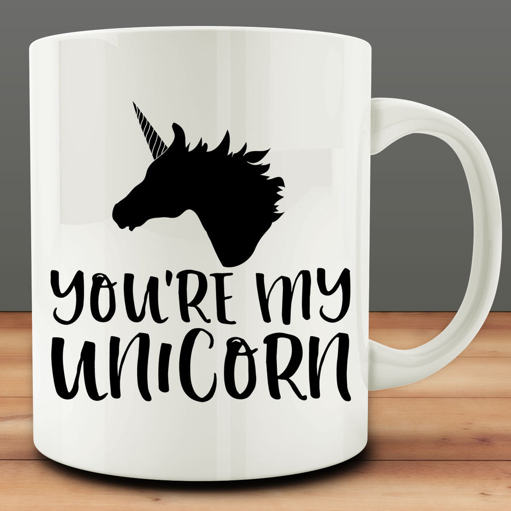You're My Unicorn Mug, 11 oz white ceramic coffee tea