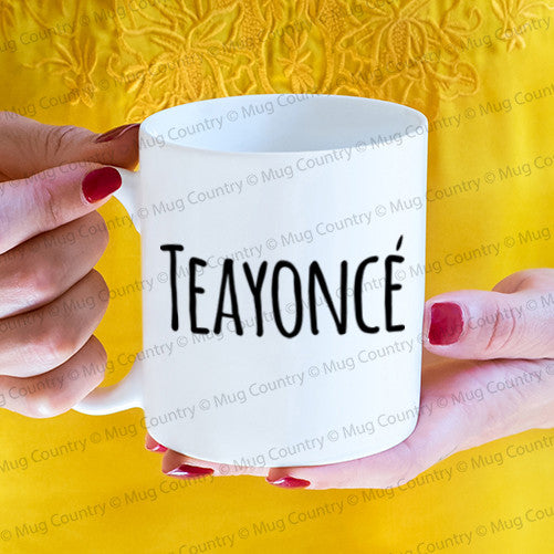 Teayonce Mug, 11 oz white ceramic tea cup