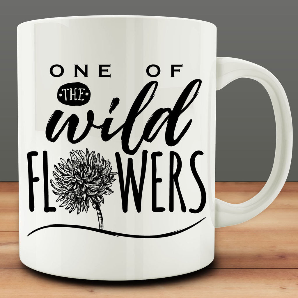 One of the Wildflowers Mug, Alice in Wonderland, 11 oz white ceramic coffee mug, tea mug