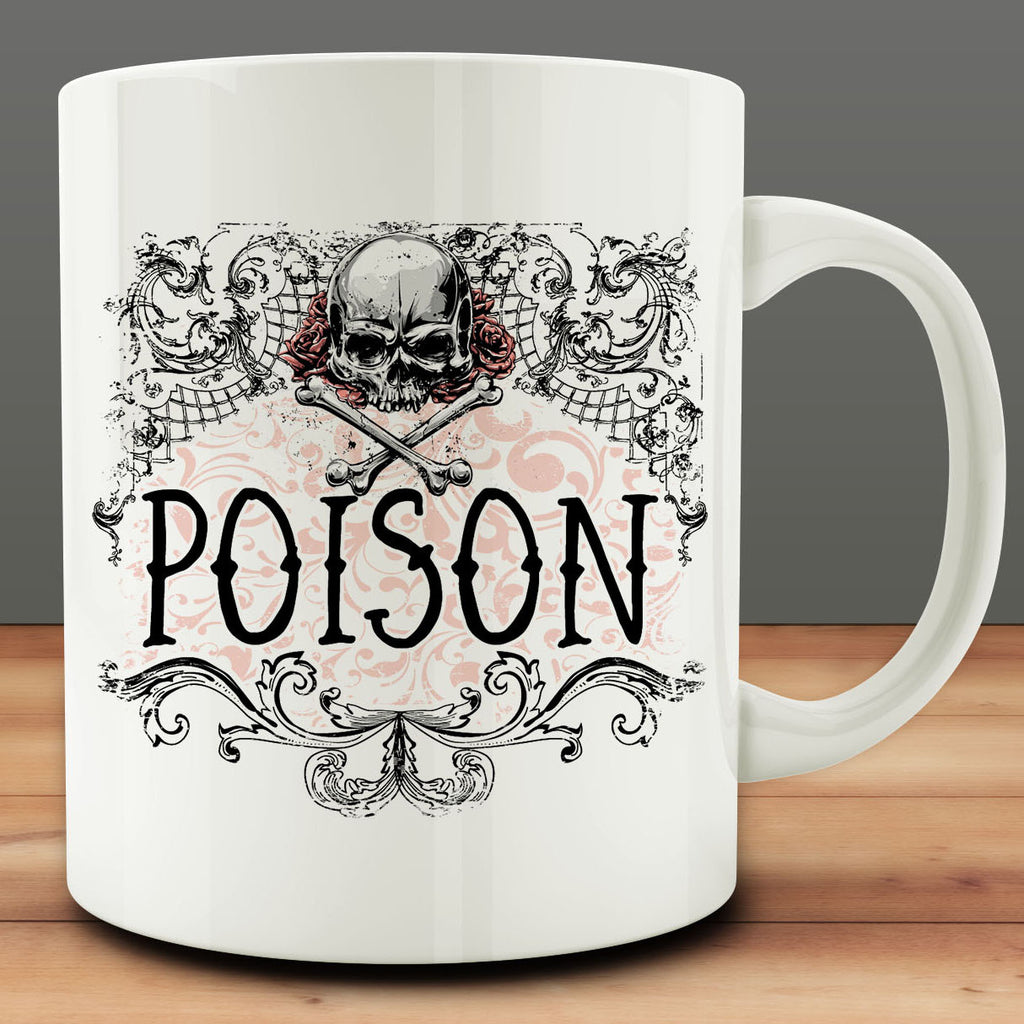 Poison Mug, apothecary halloween 11 oz white ceramic coffee tea