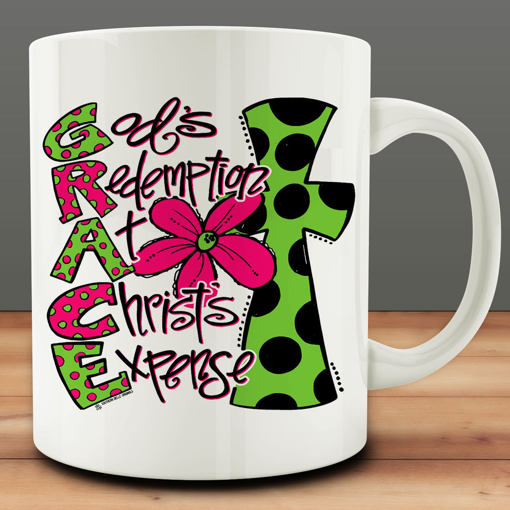 Grace - God's Redemption at Christ's Expense Mug, Christian coffee mug