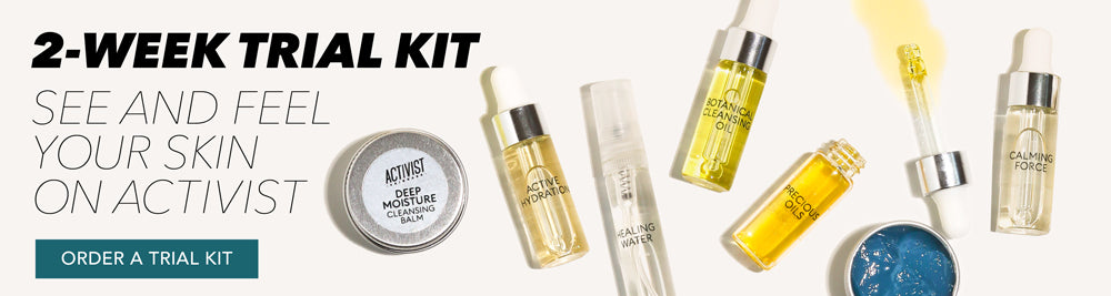 Two-Week Trial Kit of Activist Skincare sustainable, low-waste, refillable, plastic-free products in travel size