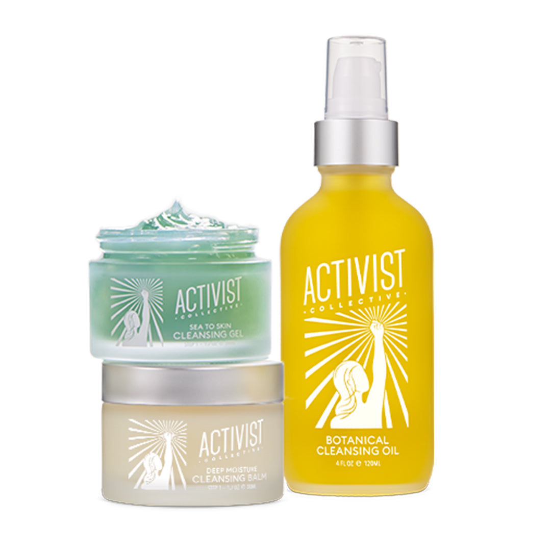 Activist's Cleansing Balm, Cleansing Gel and Botanical Cleansing Oil