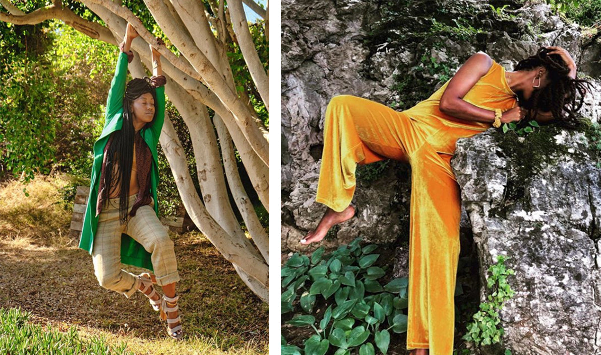 Dominique Drakeford modeling fashion in nature