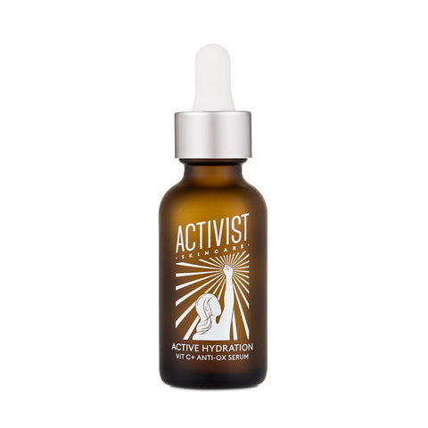 Brightening hydrating serum with vitamin C and hyaluronic acid for dull, dehydrated skin with sun spots and hyperpigmentation in sustainable, low waste / zero waste refills in pouches from Activist Skincare