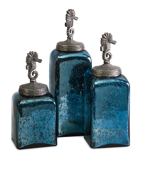 Hammered Glass Seahorse Canisters - Set of 3