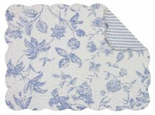 "Brighton Blue Quilted Placemats (Set of 4, 13""x19"")"