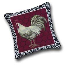 Rooster Needlepoint Pillow (14 x 14)